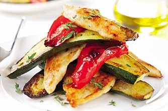 Chicken Breasts roasted with Peppers & Courgettes