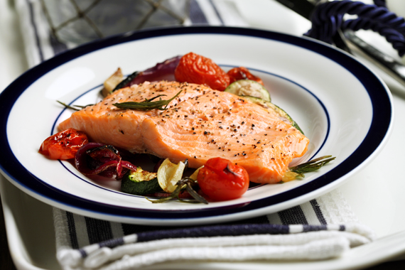 Broiled Trout with Lemon Oil & Oven-Grilled Vegetables