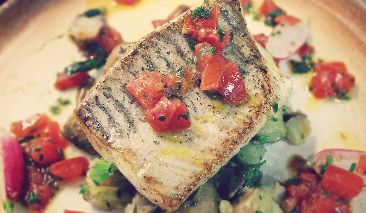 Fillet of Coley with Sauce Vierge & Crushed Potato
